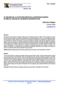 El discurso de la activación dentro de la Estrategia Europea de Empleo