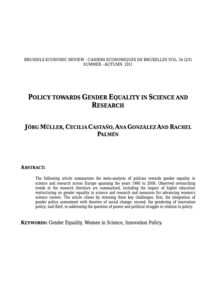 Policy Towards Gender Equality in Science and Research