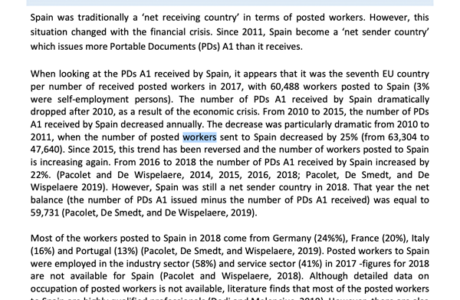 Posting of workers. Country briefing paper. Spain_